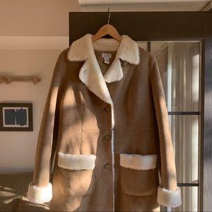 ann taylor loft faux shearling coat sz 6